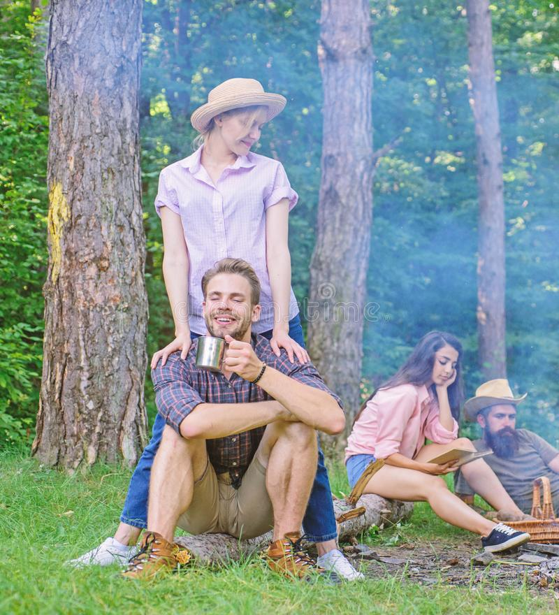 Company friends couples or families enjoy relaxing together forest. Find companion to travel and hike. Awesome hiking. Great company. Friends relaxing near royalty free stock photo