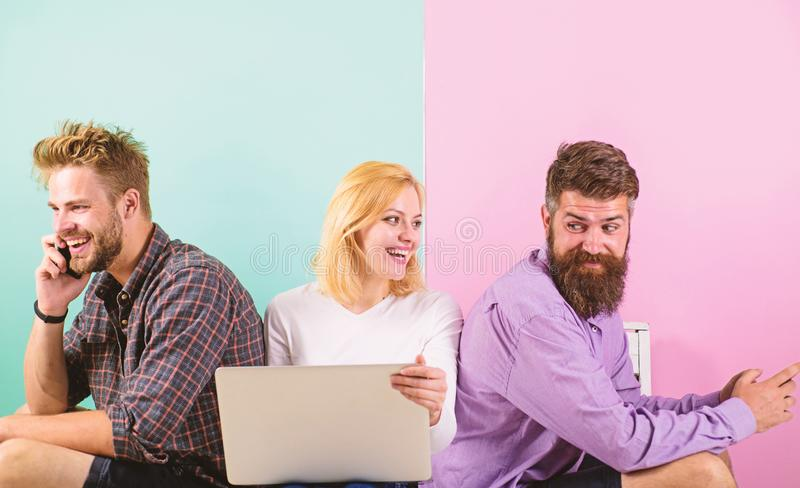 Company happy friends with mobile gadgets laptop. Modern society can not imagine life without internet. Men and woman. Have access to network from everywhere royalty free stock images