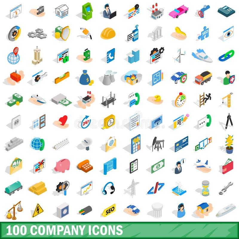 100 company icons set, isometric 3d style royalty free illustration
