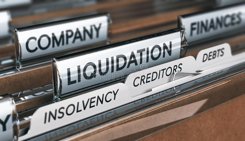Company Insolvency And Liquidation Concept. Company liquidation concept. File and tabs with the words insolvency, creditors and debts. 3D illustration stock illustration