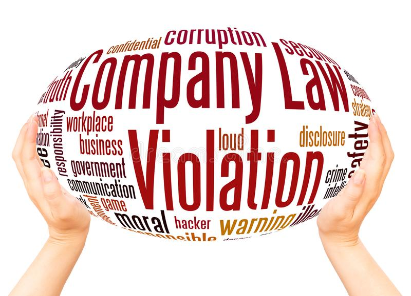 Company Law Violation word cloud hand sphere concept stock illustration