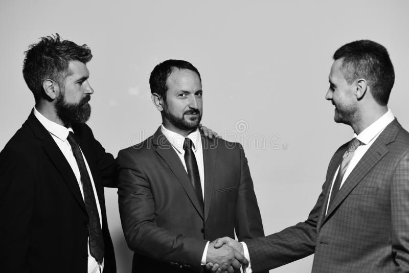 Company leaders have business meeting making deal. Business relationship and support concept. Coworkers shake hands stock photography