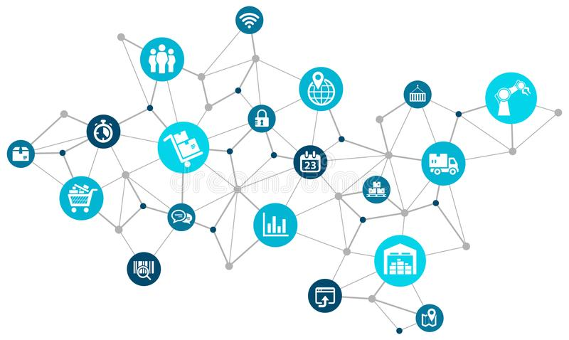 Company logistics design - abstract network of icons. Vector illustration stock illustration