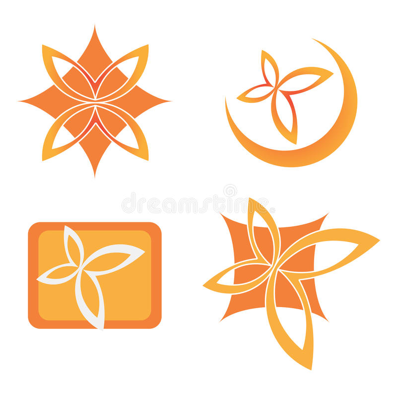 Company logo. Design with floral elements isolated on white background stock illustration