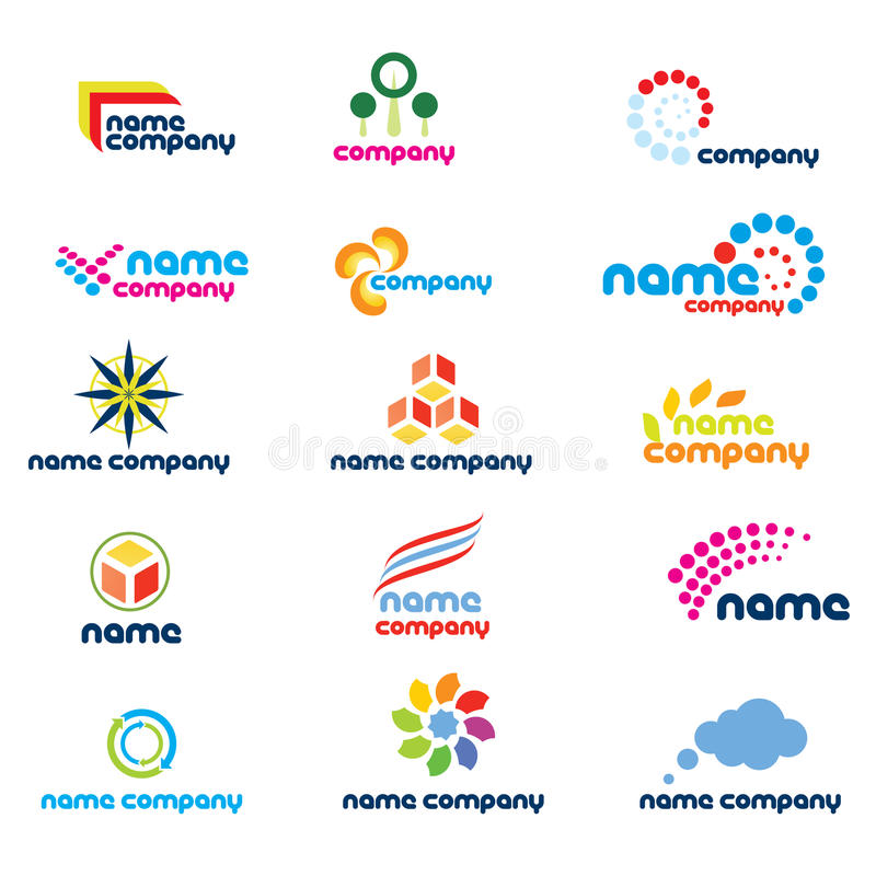 Company logo designs. Set of abstract designs isolated on white suitable for a company logo, icon or symbol
