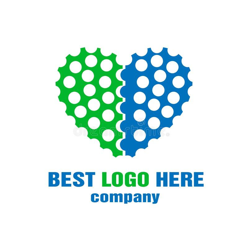 Company logo in heart shaped on white background stock illustration