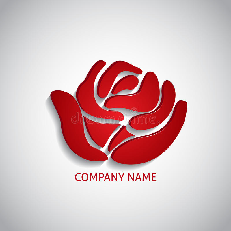 Company logo red rose. With long shadow royalty free illustration