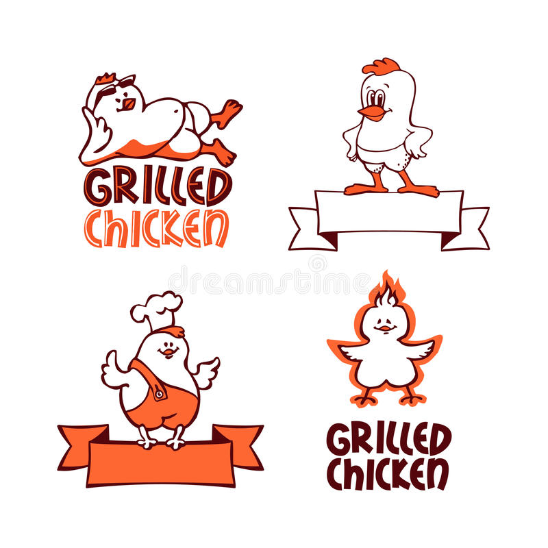 Download Company Logo Set. Grilled Chicken Stock Vector - Image: 34418611