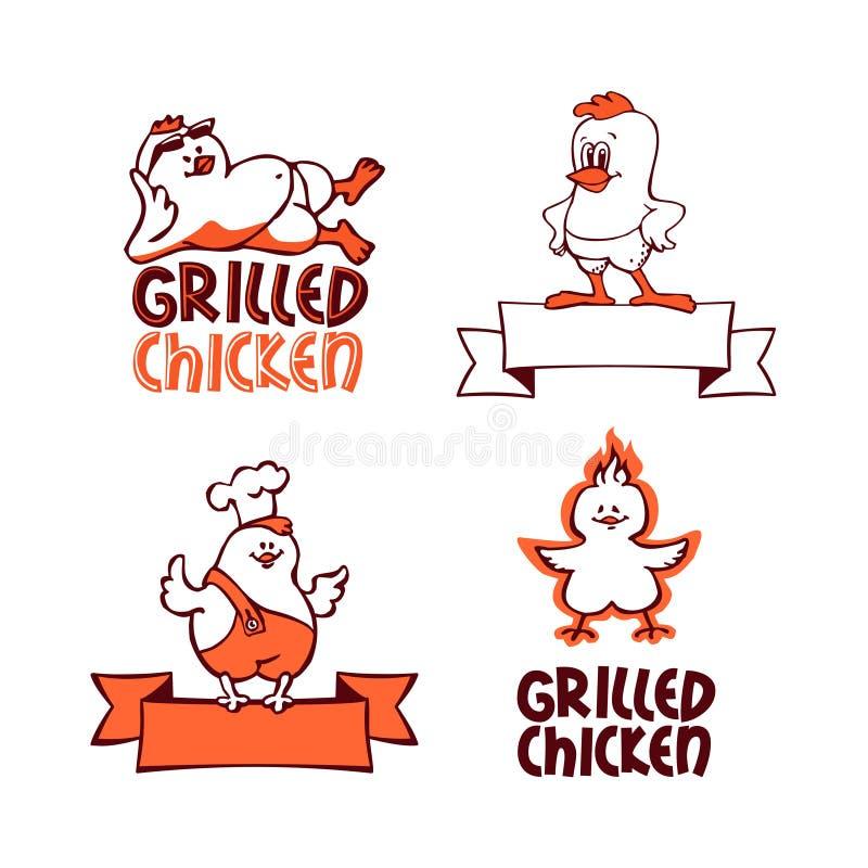 Company logo set. Grilled chicken stock illustration