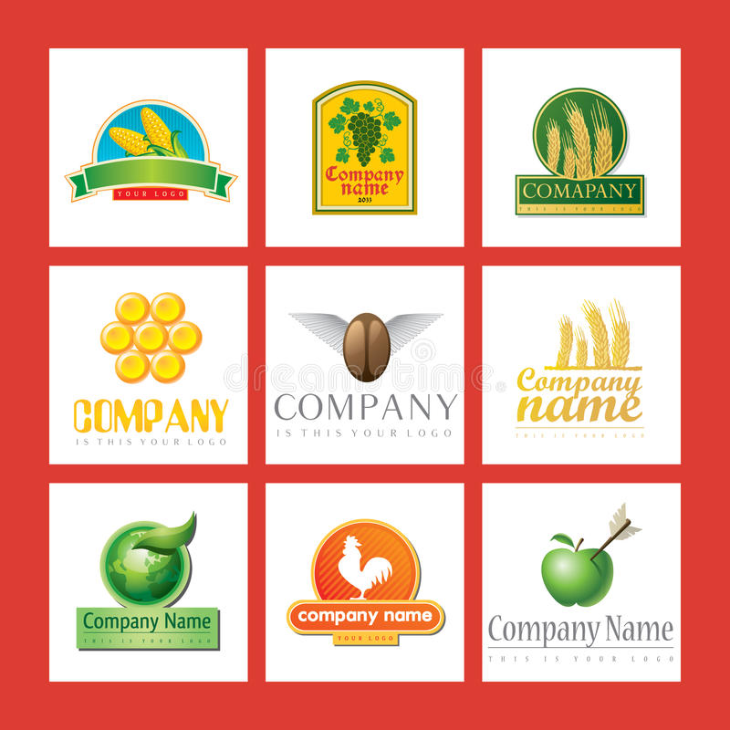 Company logos with food stock illustration
