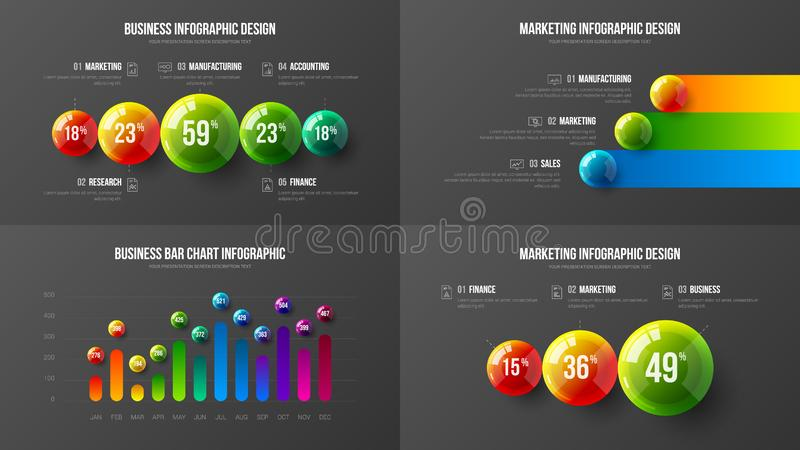 Amazing business data vertical bar chart design layout vector illustration bundle. Company marketing analytics presentation vector illustration template bundle royalty free illustration