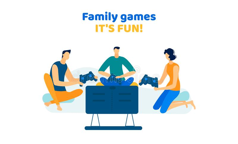Company Men and Woman Playing Video Games at Home vector illustration