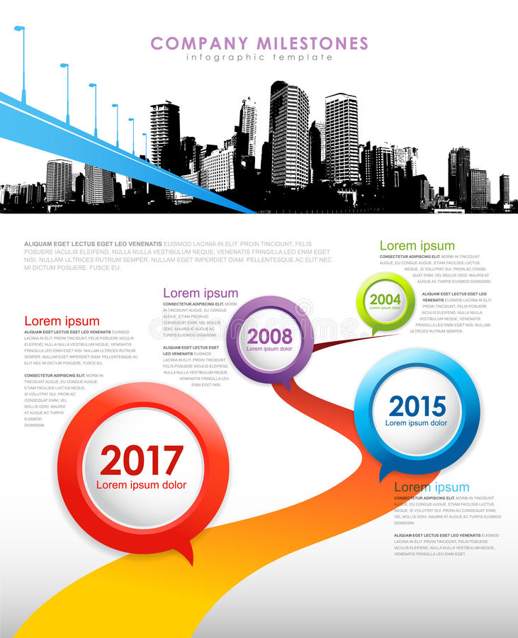 Company milestones infographic. Modern company milestones infographic with colorful button icons, copy space and city skyline stock illustration