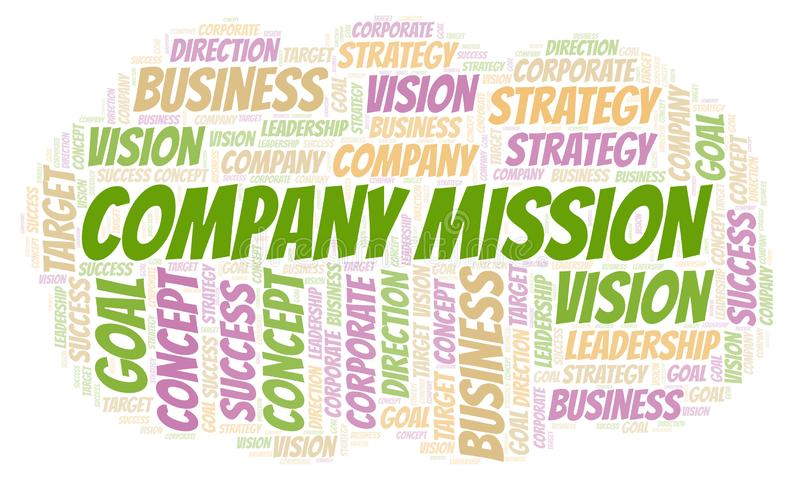Company Mission word cloud. Wordcloud made with text only stock photo