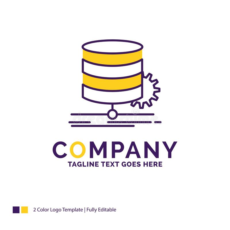Company Name Logo Design For Algorithm, chart, data, diagram, fl. Ow. Purple and yellow Brand Name Design with place for Tagline. Creative Logo template for royalty free illustration