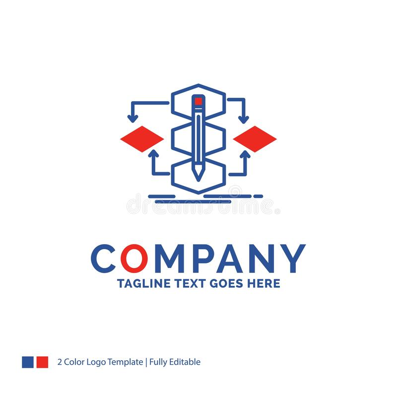 Company Name Logo Design For Algorithm, design, method, model, p. Rocess. Blue and red Brand Name Design with place for Tagline. Abstract Creative Logo template stock illustration