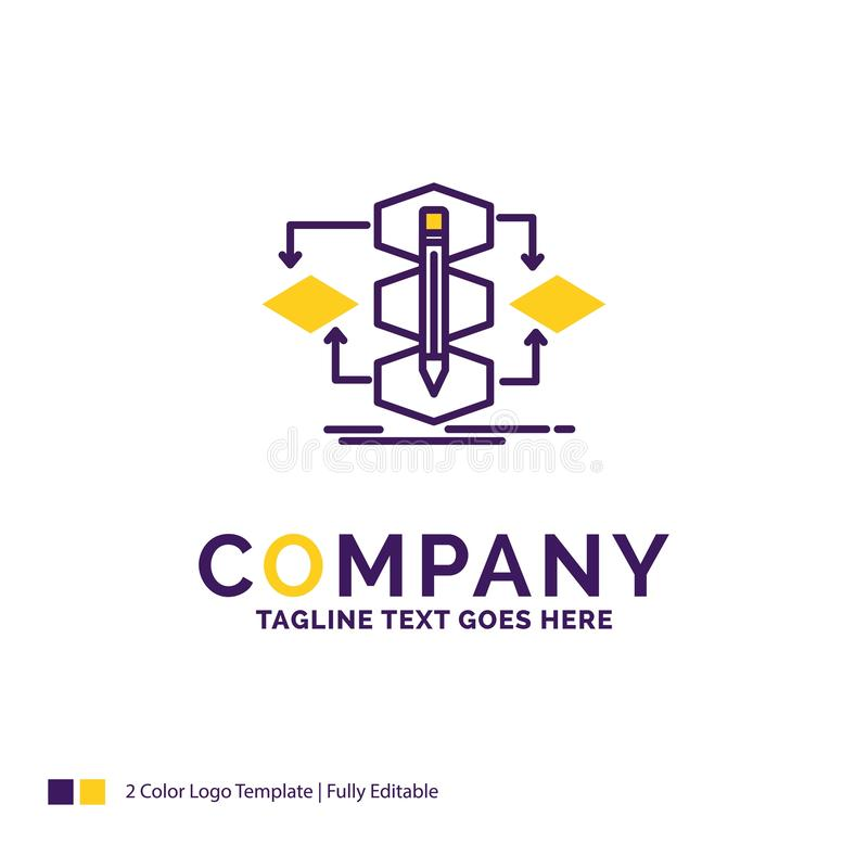 Company Name Logo Design For Algorithm, design, method, model, p. Rocess. Purple and yellow Brand Name Design with place for Tagline. Creative Logo template for vector illustration