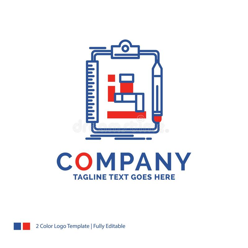 Company Name Logo Design For Algorithm, process, scheme, work, w. Orkflow. Blue and red Brand Name Design with place for Tagline. Abstract Creative Logo template royalty free illustration