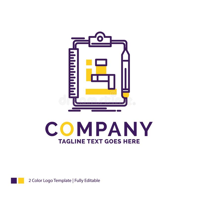 Company Name Logo Design For Algorithm, process, scheme, work, w. Orkflow. Purple and yellow Brand Name Design with place for Tagline. Creative Logo template for stock illustration