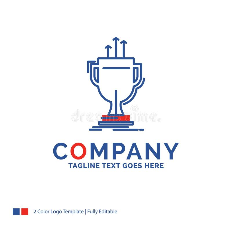 Company Name Logo Design For award, competitive, cup, edge, priz. E. Blue and red Brand Name Design with place for Tagline. Abstract Creative Logo template for stock illustration