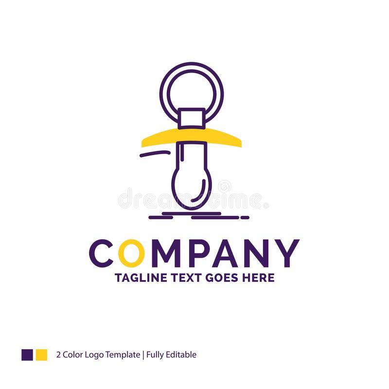 Company Name Logo Design For Baby, dummy, newbie, nipple, noob. Purple and yellow Brand Name Design with place for Tagline. Creative Logo template for Small vector illustration