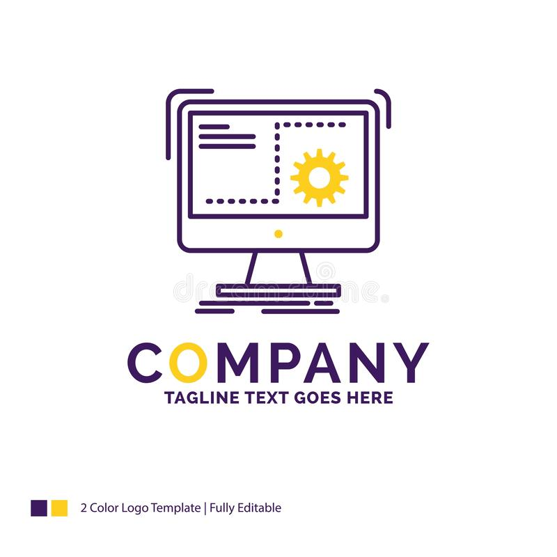 Company Name Logo Design For Command, computer, function, proces. S, progress. Purple and yellow Brand Name Design with place for Tagline. Creative Logo template stock illustration
