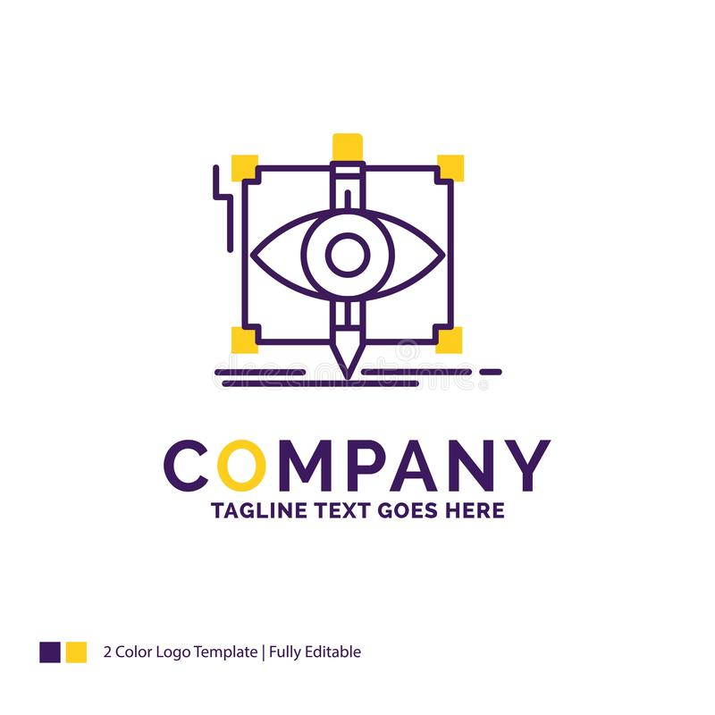 Company Name Logo Design For design, draft, sketch, sketching, v. Isual. Purple and yellow Brand Name Design with place for Tagline. Creative Logo template for royalty free illustration