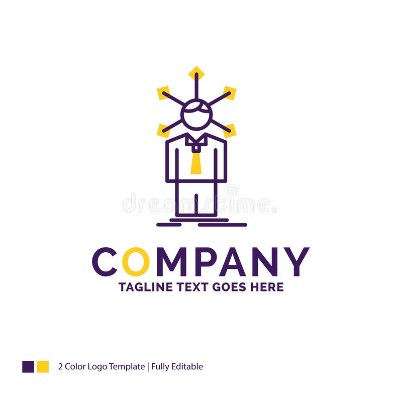 Company Name Logo Design For development, human, network, person. Ality, self. Purple and yellow Brand Name Design with place for Tagline. Creative Logo template stock illustration