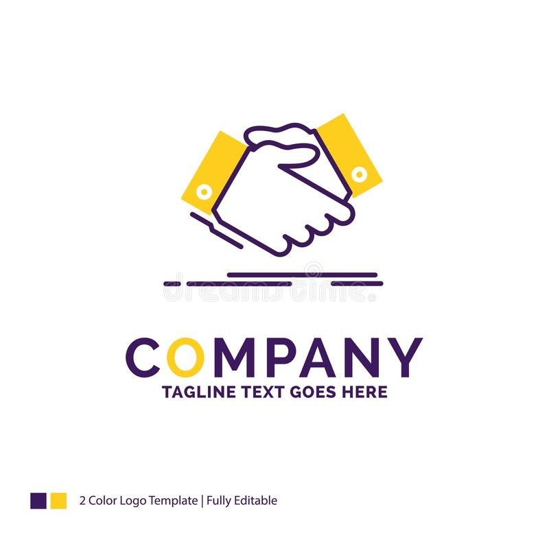Company Name Logo Design For handshake, hand shake, shaking hand. Agreement, business. Purple and yellow Brand Name Design with place for Tagline. Creative stock illustration