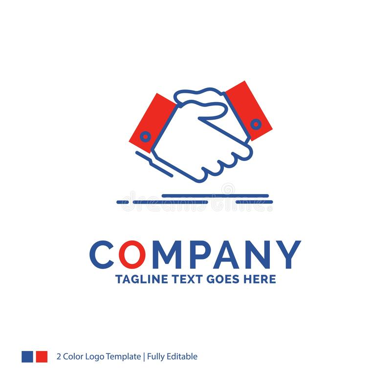 Company Name Logo Design For handshake, hand shake, shaking hand. Agreement, business. Blue and red Brand Name Design with place for Tagline. Abstract Creative vector illustration