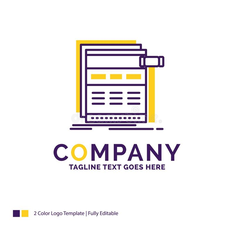 Company Name Logo Design For Internet, page, web, webpage, wiref. Rame. Purple and yellow Brand Name Design with place for Tagline. Creative Logo template for stock illustration