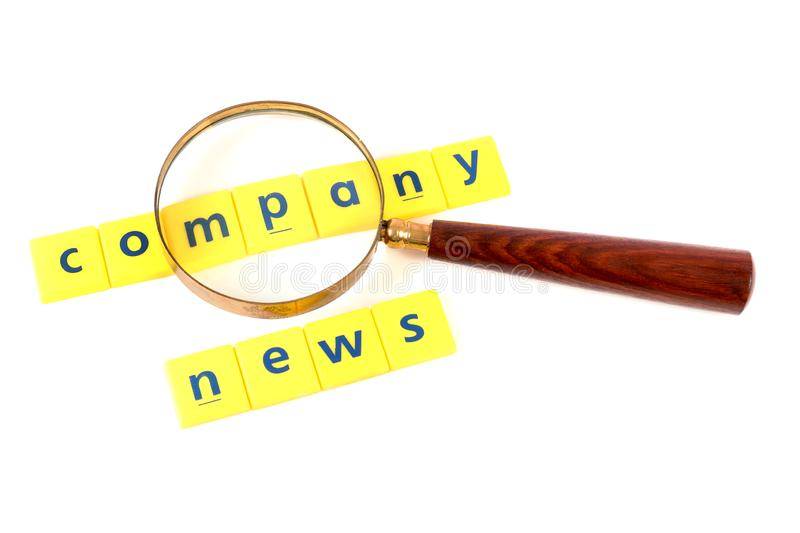 Company news. Concept image of company news on white background stock photo