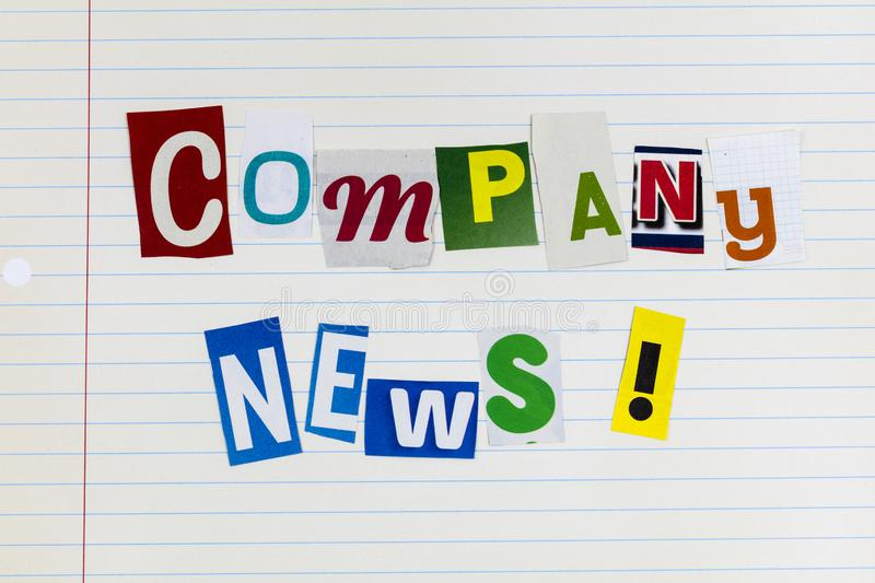 Company news official business newsletter release latest report. Letterpress note paper lined magazine analysis communication lined note paper background stock images