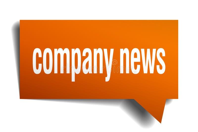 Company news orange 3d speech bubble vector illustration
