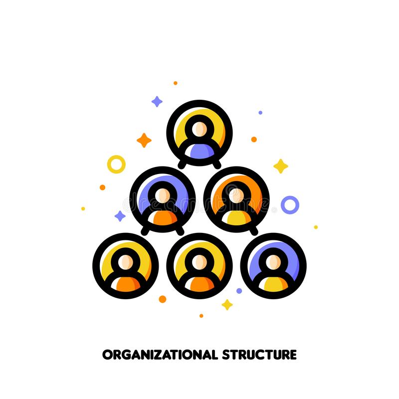 Company organizational structure icon for corporate management or business hierarchy concept. Flat filled outline style stock illustration
