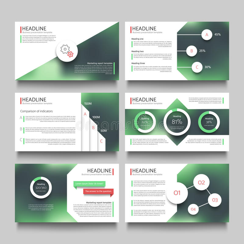 Company presentation booklet pages with abstract outdoor blurred photos vector template. Headline page and graphic leaflet for presentation illustration vector illustration