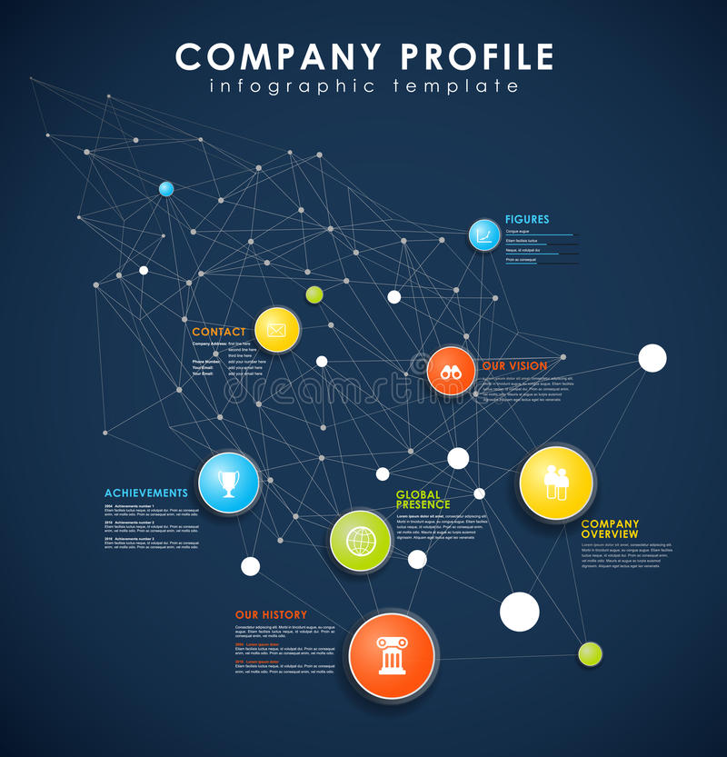 Company Profile Overview Template With Colorful Circles. Stock ...