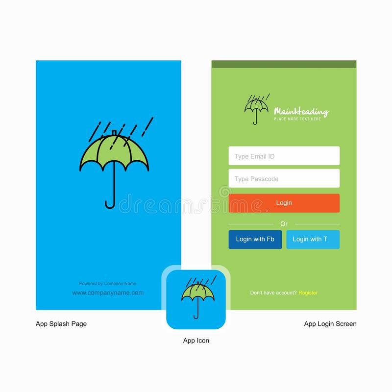 Company Raining and Umbrella Splash Screen and Login Page design with Logo template. Mobile Online Business Template royalty free illustration