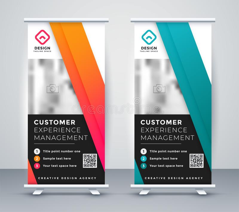 Company rollup presentation banner in two colors. Vector vector illustration