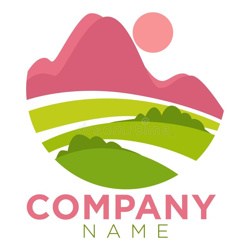Company round promo emblem template with minimalistic landscape royalty free illustration