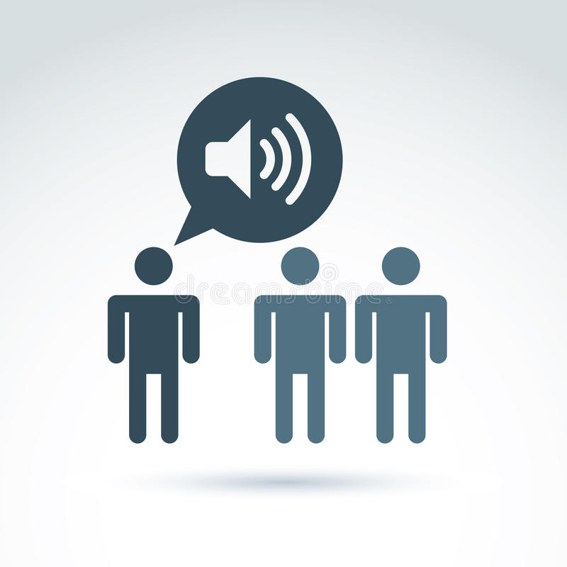 Company or social leader instructing people. Speech bubble with royalty free illustration