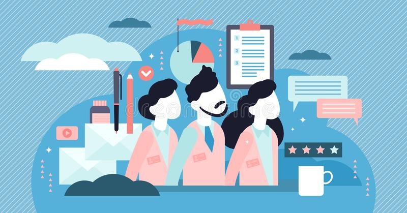 Company staff vector illustration. Flat tiny work employee persons concept. royalty free illustration