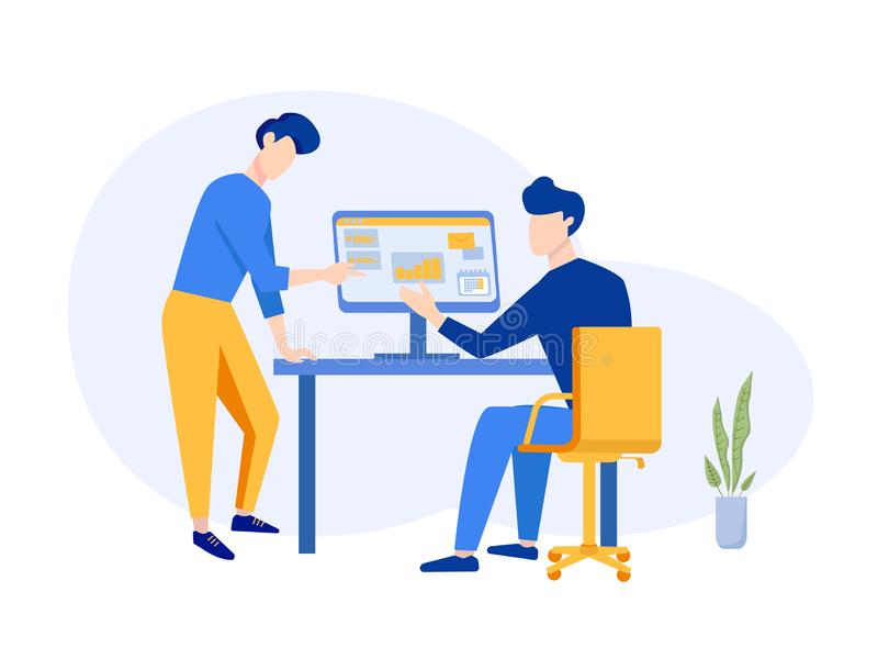 Company Strategy Planning teamwork Concept. Office workplace for Business Analysis. Meeting, discussion, presentation royalty free illustration