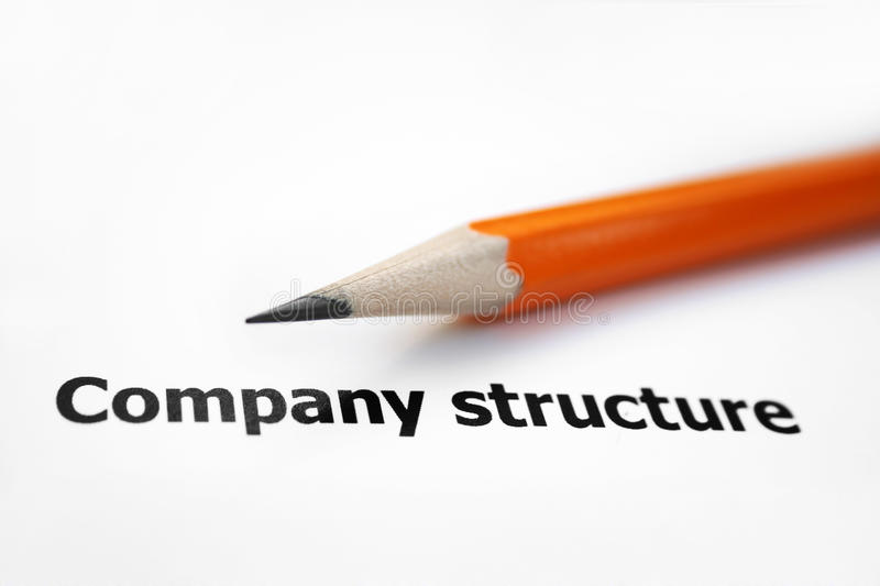 Company structure. Close up of pencil on company structure stock images