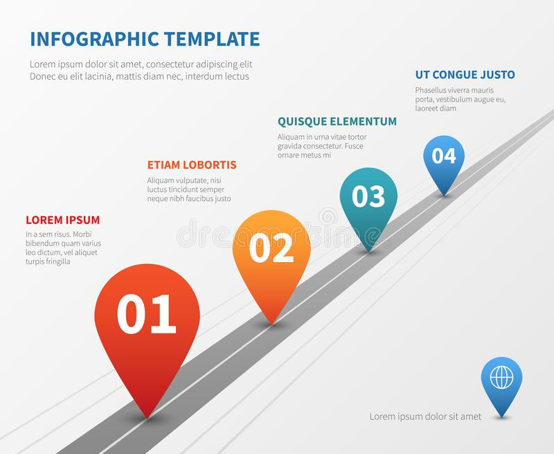 Company timeline vector infographic. Milestone road with pointers. Pointer on timeline road, workflow process point illustration vector illustration