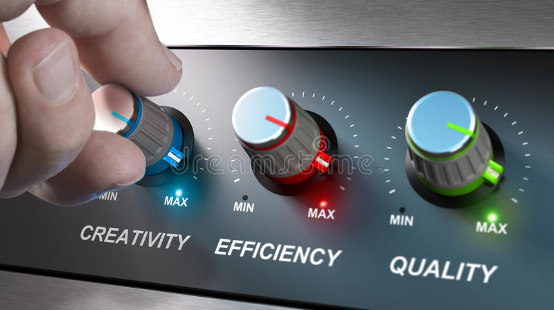 Company Values, Creativity, Efficiency and Quality. Hand turning knobs where it is written the words creativity, quality and efficiency. Concept for stock illustration