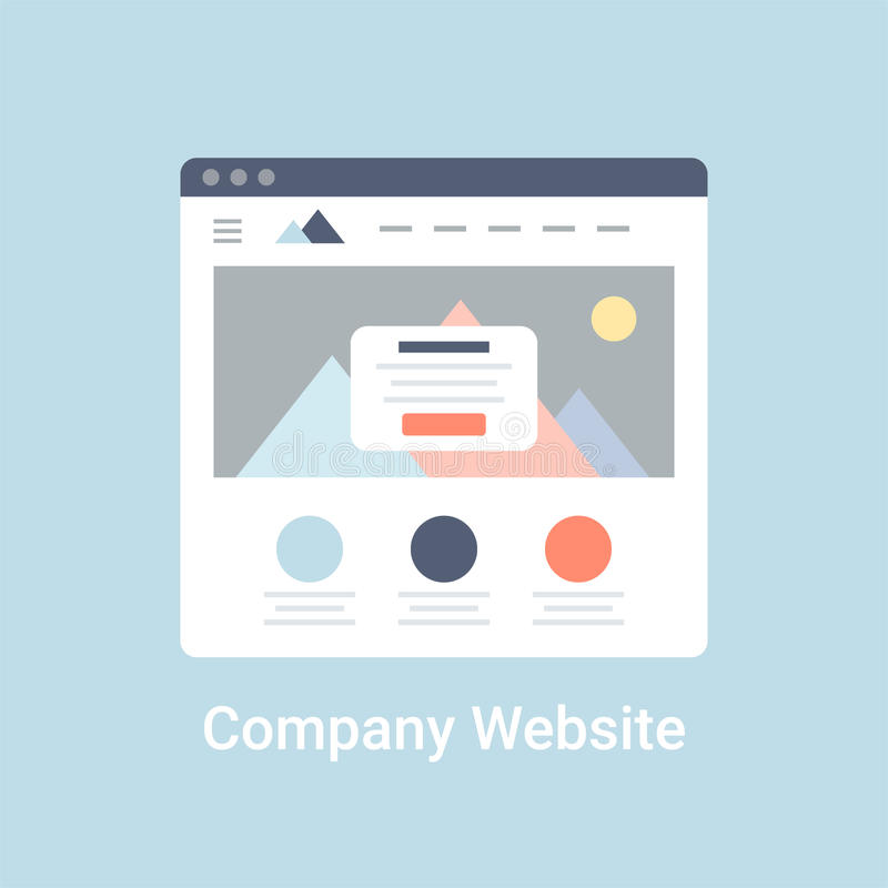 Company Website Wireframe. Interface template. Flat vector illustration on blue background stock illustration