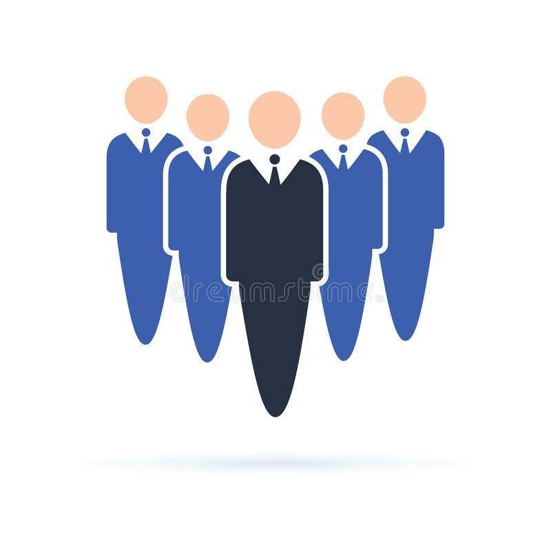 Company workers icon. Business people standing in a row, teambuilding or leadership concept. Co working people vector illustration