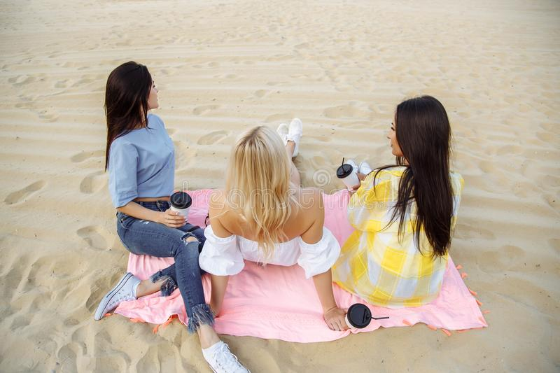 The company of young girls resting on the beach. The company of young girls resting on the beach royalty free stock image