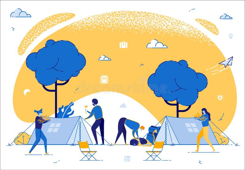 Company of Young People Spend Time at Summer Camp. In Deep Forest. Set Up Tent, Collecting Brushwood for Campfire. Men and Woman Friends Hiking on Vacation stock illustration
